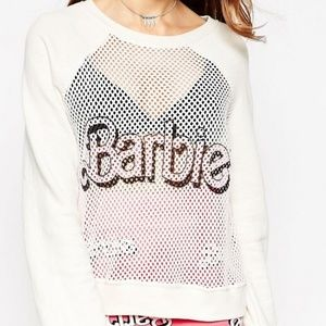 Wildfox Loves BARBIE Mesh Sweater, Small, IVORY